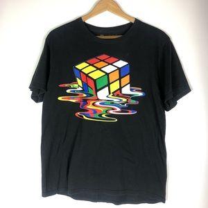 Tops - Melting Rubik's Cube T-Shirt in Black, Size Medium
